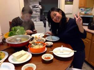 My aunt with her peace sign. Not helping the stereotype.
