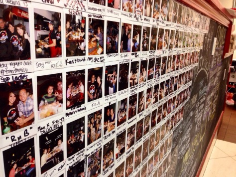 Wall of Fame: Polaroids of customers are put up on the wall.