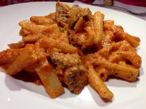 Creamy Vodka Diavolo on Penne Rigate and Meatballs