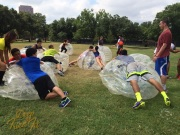 At the end, we helped deflate these bubbles. Resting on the bubble while the air is shooting out is very cooling. Photo Cred: Jessica Luong